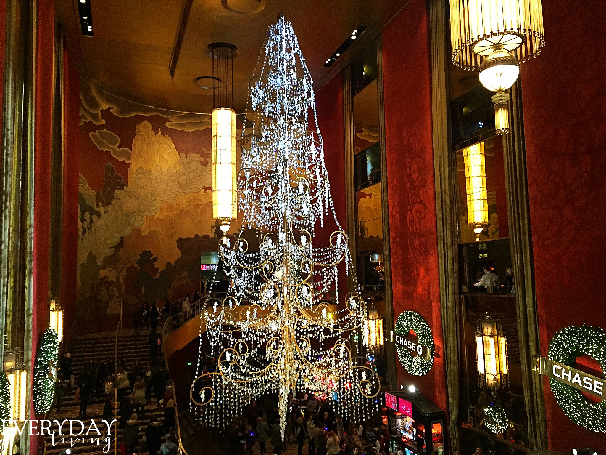 Christmas time in the new york city everything inside of radio city music hall ushers in christmaseven the chandelier that resembles a christmas tree arubaitofo Images